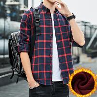 格子保暖衬衫男士冬季新款加绒加厚韩版衬衣潮