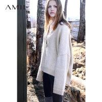 【到手价:234元】Amii极简小清新大V领套头宽松毛衣慵懒冬新落肩长袖纯色大码上衣