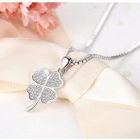 日韩版银吊坠女生银饰品925银四叶草项链锁骨 情人节礼物