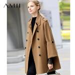 【AMII大牌日 2件4折】Amii极简100%羊毛双面呢斗篷外套女2018冬新双排扣小个子呢子大衣