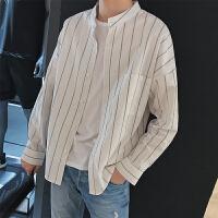 秋冬秋季长袖韩版男士衬衣条纹长袖衬衫个性工作服印花衬衫