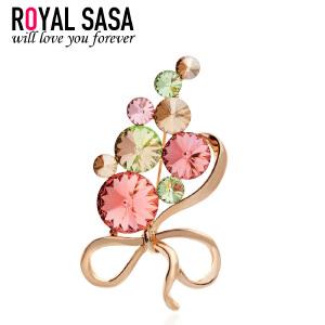 皇家莎莎RoyalSaSaRoyalS创意生日礼物 韩国饰品胸针人造水晶女胸花别针复古5SP068