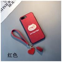红色刺绣猪款iphone6s plus手机壳卡通8苹果Xs max情侣7挂绳女XR六七八软胶套保护套