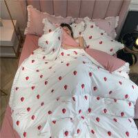 床上四件套网红款水洗棉床单少女心学生宿舍单人被套ins风用品 小-白
