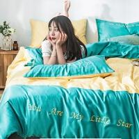 双面天丝四件套冰丝滑欧式爽网红款床单被套床上用品三件套