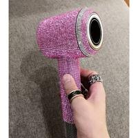 戴森吹风机贴膜dyson戴森吹风机贴纸贴钻保护膜吹风筒钻贴膜防刮裁剪直接贴 粉色 高密钻