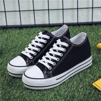 6CM夏季增高鞋女学生韩版厚底帆布鞋女内增高板鞋新款百搭鞋子女