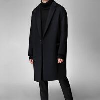 2018冬季羊毛大衣妮子中长款毛呢外套青年韩版过膝风衣男士英伦风 大气黑 暗扣款