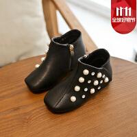 女童短靴子春秋2017冬季新款低筒儿童马丁靴子加绒保暖公主单靴