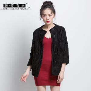 冬季新款女装黑色七分袖毛衣外套 加厚短款粗毛线针织开衫特惠