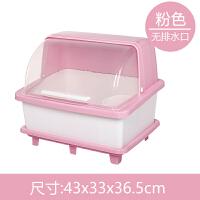 家用塑料碗柜厨房沥水碗架带盖碗筷餐具收纳盒放碗盘勺滤水置物架