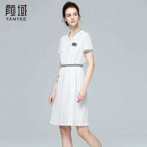 颜域印花连衣裙2017新款夏装条纹收腰夏季女装裙气质显瘦连衣裙子