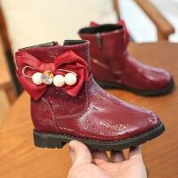女童皮靴2017冬季靴子新款公主鞋中大童时尚加绒保暖中筒时装短靴