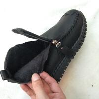 妈妈鞋冬季加绒棉鞋保暖防滑女鞋舒适中年女士短靴子中老年皮鞋女