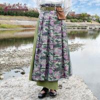 生活在左2019春夏季新品迷彩裙子女军绿色半身裙长裙配腰带装饰袋