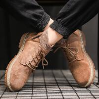 专柜品质时尚潮流2019新款男鞋子冬季工装马丁靴男中帮韩版内增高夏季学生英伦百搭高帮皮鞋