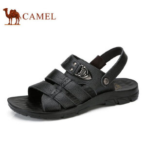 camel骆驼男鞋  夏季新品 男凉鞋沙滩鞋 透气牛皮露趾男士凉鞋