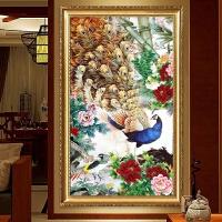 圆钻竖版古典花开富贵十字绣粘贴点钻砖石画玄关装饰画牡丹孔雀图