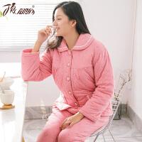 顶瓜瓜睡衣女冬季保暖三层夹棉套装长袖长裤女士保暖大棉袄家居服