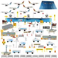 儿童玩具飞机模型仿真国际机场直升机客机 场景套装拼装模型