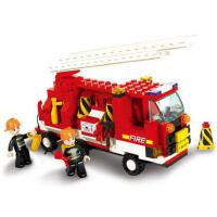 小鲁班消防系列 创意积木消防云梯车模型6岁男孩益智拼装玩具车