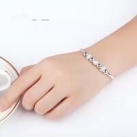 银手镯S990时尚纯银手镯女银饰品足银镯子