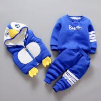男女宝宝冬装套装卫衣0-1岁2婴儿棉衣三件套