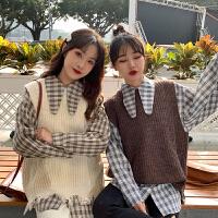 2019新款格子衫衬衣洋气套装女韩版针织马甲背心加格子衬衫两件套