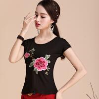 中国风女装上衣夏装 绣花民族风短袖t恤女 棉圆领刺绣打底衫