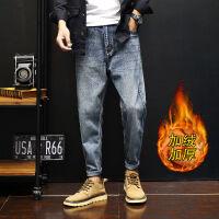 牛仔裤宽松男士秋冬季韩版学生bf百搭大码日系加绒加厚休闲小脚裤 图片色
