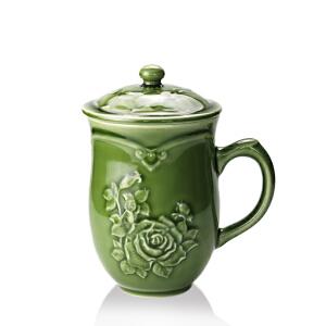 乾唐轩活瓷杯 月季高杯盖杯 高档陶瓷水杯子办公杯商务礼品杯