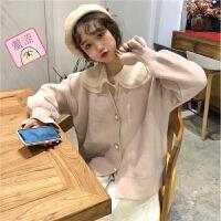 温柔气质糖果色珍珠扣开衫针织毛衣女春装+娃娃领内搭衬衣女套装