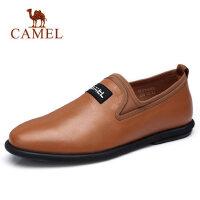 camel 骆驼男鞋新款英伦柔软复古休闲牛皮防滑休闲套脚皮鞋子