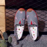 帆布休闲布鞋女学生一脚蹬懒人鞋韩版渔夫平底百搭豆豆鞋