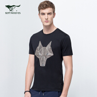 七匹狼短袖T恤衫男士 夏季时尚美式休闲圆领几何短袖T恤男