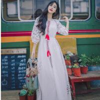 秋季新品泰国潮牌七分袖系带民族风文艺雪纺刺绣度假连衣裙长裙女 米白色