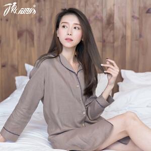 顶瓜瓜睡衣女春季 新款睡裙女夏长袖韩版女士睡衣家居服亚麻连衣裙短裙