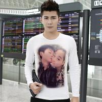 男女长袖T恤广告情侣装定制定做DIY印照片卡通个性衣服印字图大码2018新品