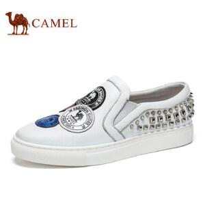 camel 骆驼男鞋 男士时尚休闲铆钉鞋 青春个性套脚乐福鞋