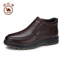 骆驼牌男靴子 新品头层牛皮套脚厚底男鞋保暖绒里男皮靴