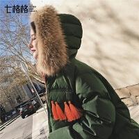 七格格羽绒服冬季装2018新款韩版学生百搭时尚女士加厚短款外套潮
