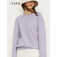 Amii极简休闲立体印花卫衣女2021秋新款长袖直筒落肩长袖全棉上衣