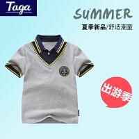 taga童装男童短袖t恤男孩翻领短袖POLO衫学生体恤衫2017夏季新款