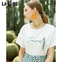 【5折价79】Lagogo/拉谷谷预售2019年夏季新款时尚百搭印花T恤女IATT313G98