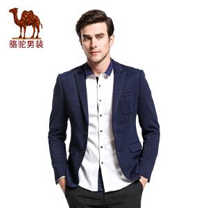骆驼&熊猫联名系列男装 时尚青年休闲西装修身格子小西服外套潮男
