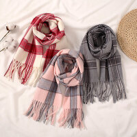 儿童秋冬新款男女童保暖围巾围脖宝宝仿羊绒格子围巾长款加厚披肩