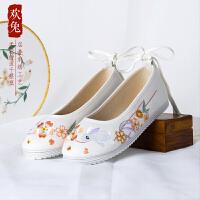 汉服鞋古装绣花鞋女平底系带弓鞋内增高老北京布鞋女平跟古风鞋子