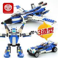 图思迪变形积木玩具拼装车机器人飞机模型儿童益智组装3合1男孩6-8-10-12岁31008