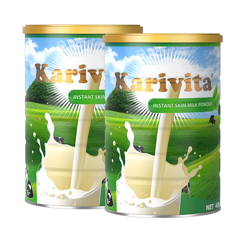 Karivita 卡瑞特兹 新西兰进口脱脂奶粉  高钙青少年学生成人奶粉 400克*2罐18年7月新鲜日期 新西兰原罐  好喝不发胖
