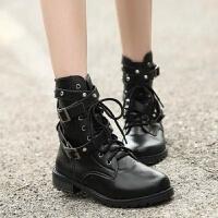 帅气柳丁靴朋克短靴欧美机车靴子厚底马丁靴罗马铆钉大码女鞋 黑色(单鞋)
